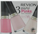 Revlon Playful Pinks Nail Enamel Set de Regalo 3 x 14.7ml (Classy + Angelic + Sheer Pink)