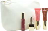 Clarins All About Lips Set Mini Pintalab. Rouge Eclat 13 Palo Rosa + Corrector Labios Mini Brillo Instantáneo Natural 06 Palo Rosa Brillo + Corrector Labios Mini Brillo Instantáneo Natural 01 Rosa Brillo + Mini Gloss Prodige 04 Candy + Bolsa Maquill.