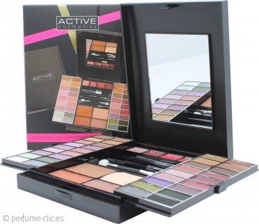 Active Glamour Endless Colour Compacto Con Espejo 36 Sombras de Ojos + 4 Pintalabios + 2 Coloretes + 1 Polvo Bronceador + 1 Lápiz de Ojos + Aplicadores