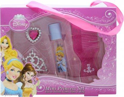 Disney Princess Ladies Set de Regalo Mini Princess Set 8ml EDT Roll-On + Cepillo + Tiara + Anillo