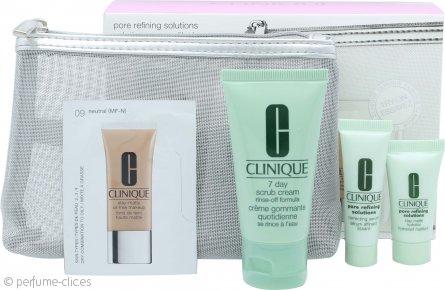 Clinique Pore Refining Solutions Set de Regalo 7ml Serum + 7ml Hidratador Mate Duradero + 30ml Exfoliante 7 Días + Maquillaje sin Aceite Mate Duradero + Bolsa