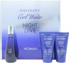 Davidoff Cool Water Night Dive Woman Set de Regalo 50ml EDT + 50ml Loción Corporal + 50ml Gel de Ducha