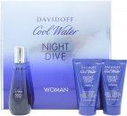 Davidoff Cool Water Night Dive Woman Set de Regalo 50ml EDT + 50ml Loción Corporal + 50ml Gel de Ducha