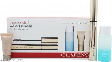 Clarins Wonder Perfect Set de Regalo 7ml Rímel 01 Negro + 30ml Desmaquillante Ojos Instantáneo + 5ml Corrector Instantáneo