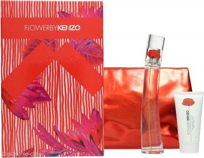 Kenzo Flower Set de Regalo 50ml EDP Vaporizador + 50ml Loción Corporal + Bolso