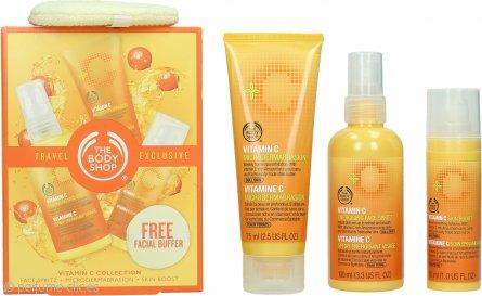 The Body Shop Vitamin C Set de Regalo Exclusivo de Viaje 100ml Spray Facial Energizante + 75ml Microdermoabrasión + 30ml Realzador Piel + Guante Facial