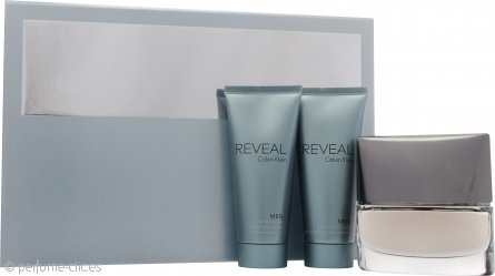 Calvin Klein Reveal Men Set de Regalo 100ml EDT Vaporizador + 100ml Bálsamo Aftershave + 100ml Gel de Pelo y Cuerpo