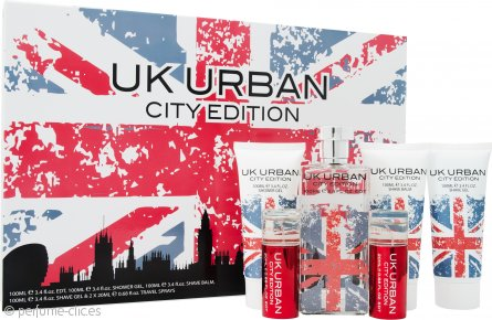 Jigsaw UK Urban City Edition Set de Regalo 100ml EDT + 100ml Gel de Afeitado + 100ml Bálsamo Aftershave + 100ml Gel de Ducha + 2 x 20ml Vaporizador de Viaje