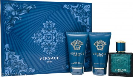 Versace Eros Set de Regalo 50ml EDT + 50ml Bálsamo Aftershave + 50ml Gel de Ducha