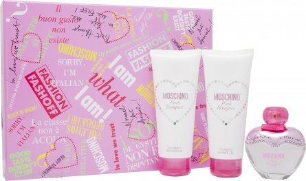 Moschino Pink Bouquet Set de Regalo 50ml EDT + 100ml Loción Corporal + 100ml Gel de Ducha