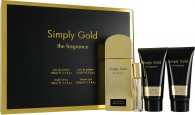 Simply Gold The Fragrance Set de Regalo 100ml EDP + 100ml Loción Corporal + 100ml Gel de Ducha + 15ml Vaporizador de Bolso