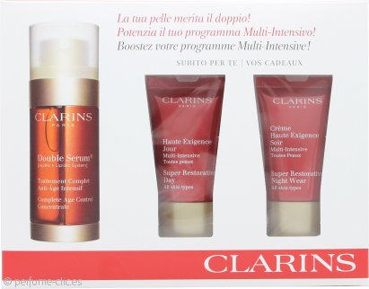 Clarins Skincare Set de Regalo 30ml Serum Doble + 15ml Crema de Día Super Restorativa + 15ml Crema de Noche Super Restorativa