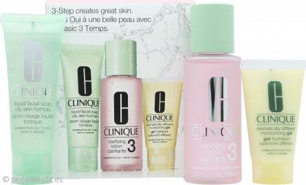 Clinique 3-Step Skincare Set de Regalo 50ml Jabón Facial Líquido Fórmula Pieles Grasas + 100ml Loción Clarificante 3 Mixta Grasa + 30ml Dramatically Different Gel Hidratante Piel Mixta- Grasa a Grasa