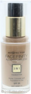 Max Factor Facefinity Base 3 en 1 Perfección Todo el Día SPF20 30ml - 77 Soft Honey