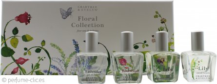 Crabtree & Evelyn Floral Collection Set de Regalo 4 x 15ml EDT Vaporizador - Rosa de Agua + Lavanda + Iris + Lirio