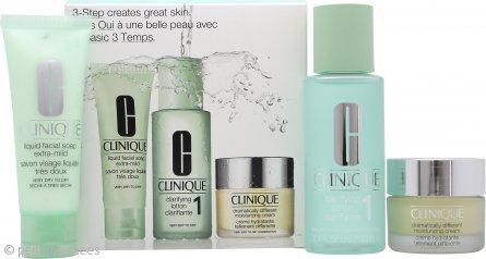 Clinique 3-Step Skincare Set de Regalo 50ml Jabón Líquido Facial Extra Suave + 100ml Loción Clarificante 1 Piel muy Seca a Seca + 30ml Crema Hidratante Cambio Total