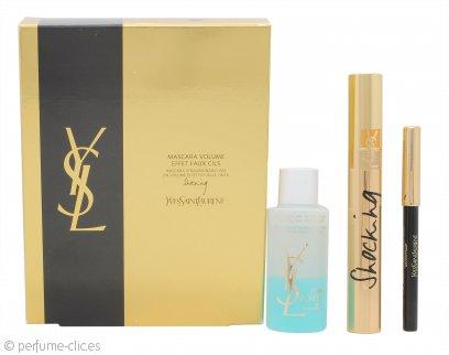Yves Saint Laurent Mascara Volume Effet Faux Cils Set de Regalo 0.8g Lápiz de Ojos de Alta Duración Resistente al Agua #01 + Rímel de Lujo Efecto Pestañas Postizas #01 + 30ml Desmaquillante de Ojos Bifásico