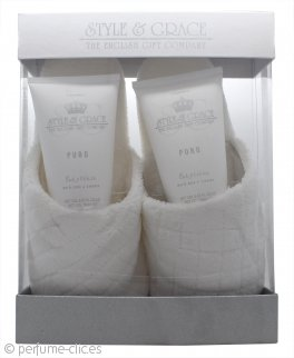 Style & Grace Puro Pure Bliss Set de Regalo Zapatillas 150ml Gel Corporal + 150ml Loción Corporal + Zapatillas