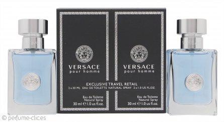 Versace pour Homme Set de Regalo 2 x 30ml EDT Vaporizador