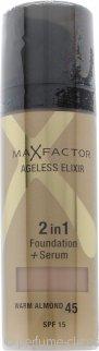 Max Factor Ageless Elixir Base 2 en 1 + Serum 30ml Almendra Cálida 45