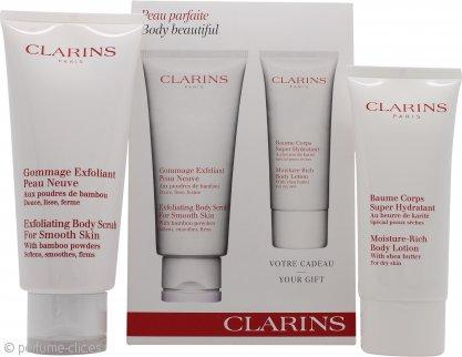 Clarins Body Beautiful Set de Regalo 200ml Exfoliante + 100ml Loción Corporal Hidratación Rica