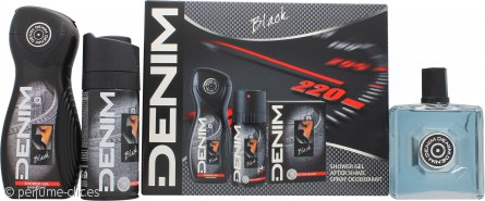 Denim Black Set de Regalo 100ml Loción Aftershave + 150ml Desodorante Vaporizador + 250ml Gel de Ducha