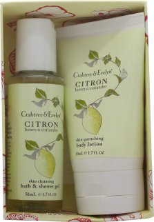 Crabtree & Evelyn Citron Honey & Coriander Set de Regalo 50ml Loción Corporal + 50ml Gel de Baño y Ducha