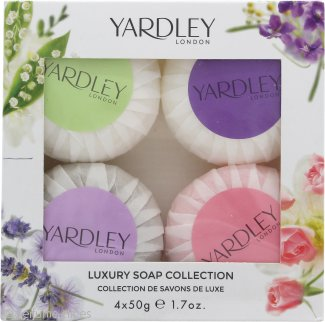 Yardley Luxury Soaps Collection Set de Regalo 50g Jabón de Lavanda + 50g Jabón Lirio del Valle + 50g Jabón Rosa + 50g Jabón Flores de Abril