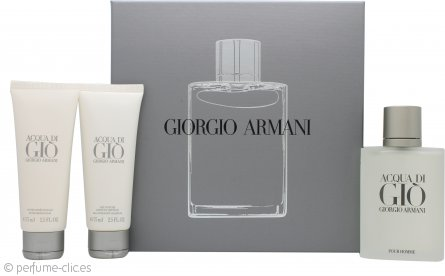 Giorgio Armani Acqua Di Gio Set de Regalo 100ml EDT + 75ml Bálsamo Aftershave + 75ml Champú de Cuerpo y Pelo