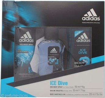 Adidas Ice Dive Set de Regalo 50ml EDT + 250ml Gel de Ducha + 150ml Desodorante Vaporizador Corporal