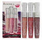 Rimmel Stay Glossy Set de Regalo Trío Brillo Labial Non Stop Glamour 120 + Stay My Rose 160 + My Eternity 260