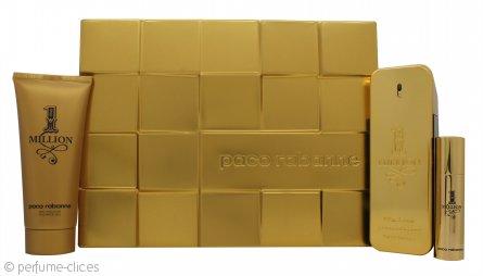Paco Rabanne 1 Million Set de Regalo 100ml EDT + 10ml EDT + 100ml Gel de Ducha
