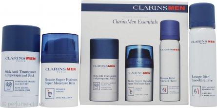Clarins Mens Set de Regalo Esenciales 50ml Bálsamo Hidratante + 50ml Gel Afeitado Suave + 75g Desodorante Barra