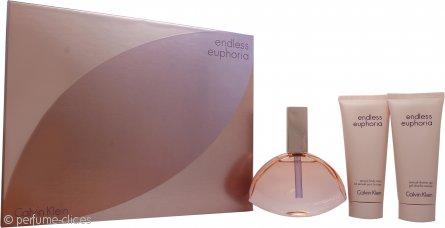 Calvin Klein Endless Euphoria Set de Regalo 125ml EDP Vaporizador + 100ml Loción Corporal + 100ml Gel de Ducha