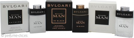 Bvlgari Man Set de Regalo Colección Vaporizadores de Bolsillo 15ml EDT Man + 15ml EDT Man Extreme + 15ml EDP Man in Black