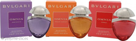 Bvlgari Miniatures Set de Regalo The Jewel Charms Collection 15ml Omnia Indian Garnet EDT + 15ml Omnia Coral EDT + 15ml Omnia Amethyste EDT