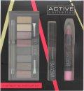 Active Cosmetics Instant Glamour Set de Regalo 6.5ml Rímel + 8 x 1.5g Sombra de Ojos + 3.3g Lápiz de Labios + Aplicador de Doble Punta