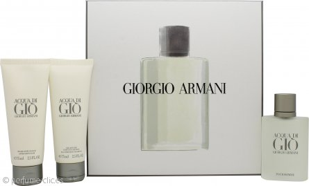 Giorgio Armani Acqua Di Gio Set de Regalo 50ml EDT + 75ml Gel de Ducha + 75ml Bálsamo Aftershave