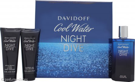 Davidoff Cool Water Night Dive Set de Regalo 125ml EDT + 75ml Gel de Ducha + 75ml Bálsamo Aftershave