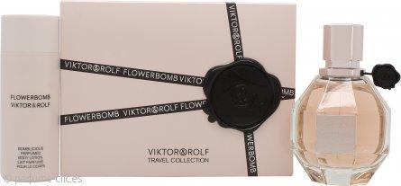 Viktor & Rolf FlowerBomb Set de Regalo 50ml EDP Vaporizador + 50ml Loción Corporal