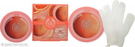 The Body Shop Pink Grapefruit Set de Regalo 100ml Loción Corporal + 100ml Exfoliante Corporal + Guantes