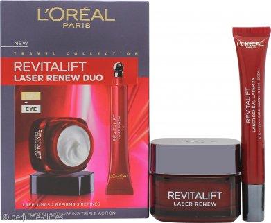 L'oreal Revitalift Laser Renew Set de Regalo Cuidado de la Piel Anti Edad 50ml Crema de Día + 15ml Crema de Ojos