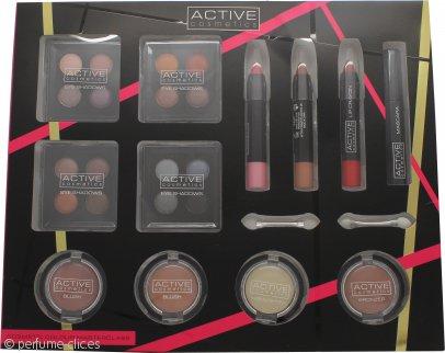 Active Cosmetics Colour Masterclass Set 4 x 10.24g Quad Sombra de Ojos + 2 x 3.58g Colorete + 1.79g Bronce + 1.79g Resaltador + 3 x 7.8g Lápiz de Labios + 6.8ml Rímel Negro + 2 x Aplicadores de dos Puntas