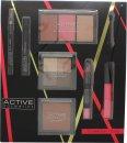 Active Cosmetics Glamour To Go Set de Regalo Lápiz de Ojos + 6.5ml Rímel + 4 x 2.5g Sombras de Ojos + 10g Bronce + 2 x 6g Colorete + 6g Resaltador + 10.5ml Brillo de Labios + 3.3g Lápiz de Labios + Aplicador