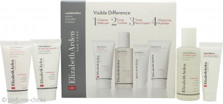 Elizabeth Arden Visible Difference Starter Kit Set de Regalo 30ml Limpiador Exfoliante + 50ml Tónico + 15ml Serum Piel + 30ml Loción Equilibrante – Piel Mixta
