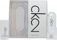 Calvin Klein CK2 Set de Regalo 50ml EDT + 100ml Loción Corporal + 100ml Gel Cabello & Cuerpo