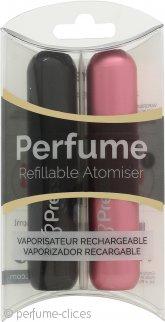 Pressit Refillable Perfume Atomiser Duo Pack Pink & Black Spray