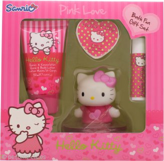 Hello Kitty Pink Love Set de Regalo 50ml Loción Corporal + 20g Perla Baño + 4.5g Bálsamo Labial