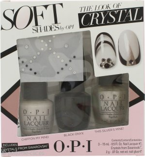 OPI Esmalte de Uñas The Look of Crystal Soft Shades Set de Regalo 15ml Chiffon My Mind + 15ml Black Onyx + 15ml This Silver's Mine! + Cristales Swarovski + 2g Adhesivo Uñas