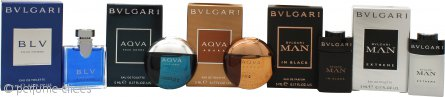 Bvlgari Men Miniature Collection Set de Regalo 5 x 5ml BLV Pour Homme EDT + 5ml Aqva Pour Homme EDT + 5ml Aqva Amara EDT + 5ml Man In Black EDP + 5ml Man Extreme EDT